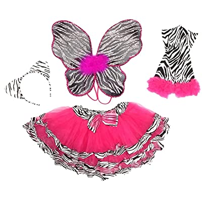 Enchantly Fairy Costume - Fairy Wings for Girls - Butterfly Costume for Girls - Hot Pink Zebra Printed Wings, Tutu, Leggings and Headband: Toys & Games