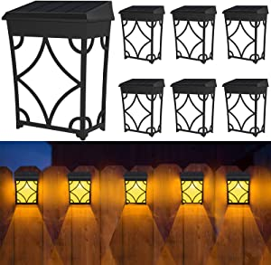 Fudosa Solar Fence Lights, 8 Pack LED Deck Lights Backyard Decor 2 Modes Colorful Decorative Wall Lamps Waterproof Outdoor Lighting for Step,Walkway, Patio, Yard
