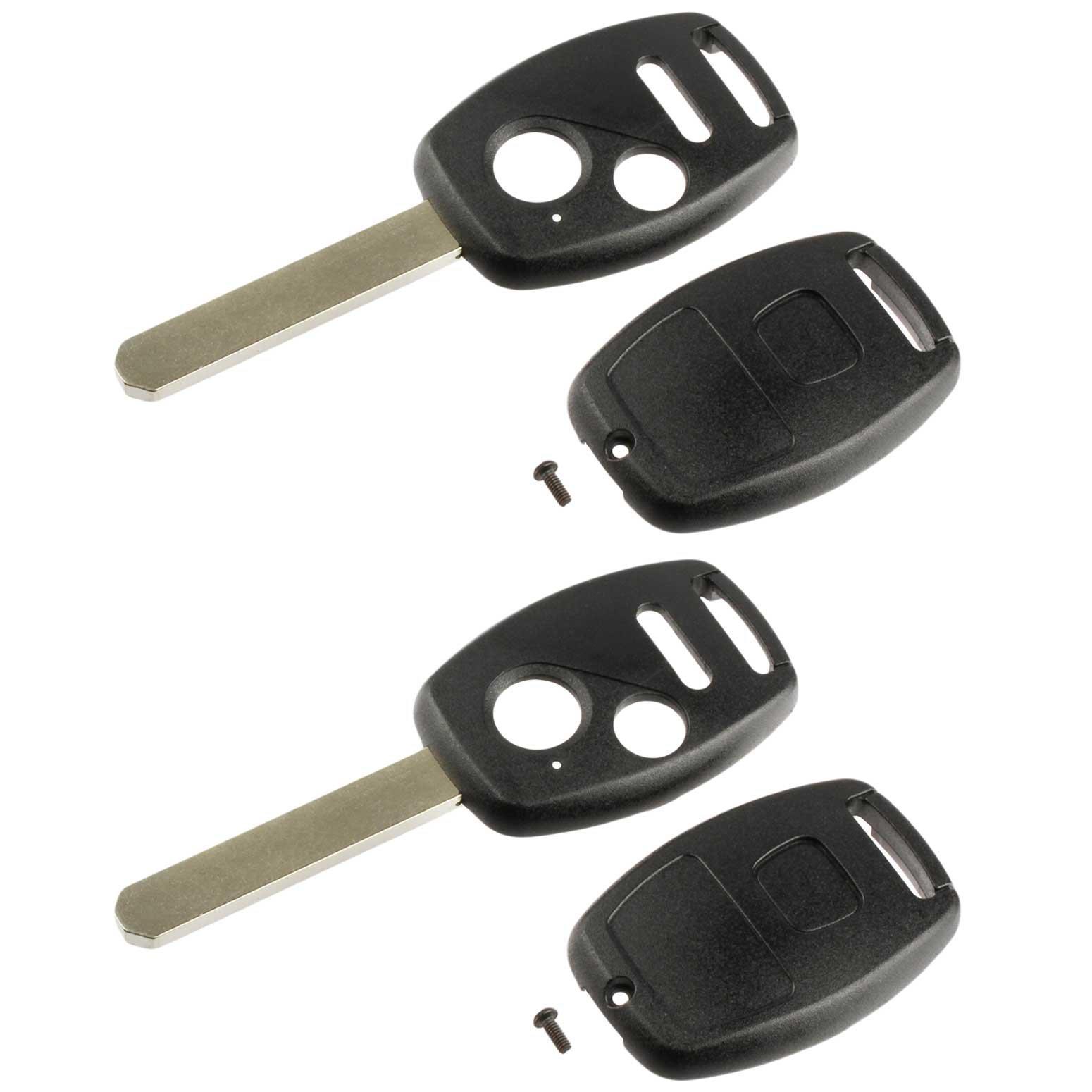 Key Fob Keyless Entry Remote Shell Case & Pad fits Honda 2007-2008 Fit / 2005-2010 Odyssey / 2005-2008 Pilot / 2006-2014 Ridgeline, Set of 2
