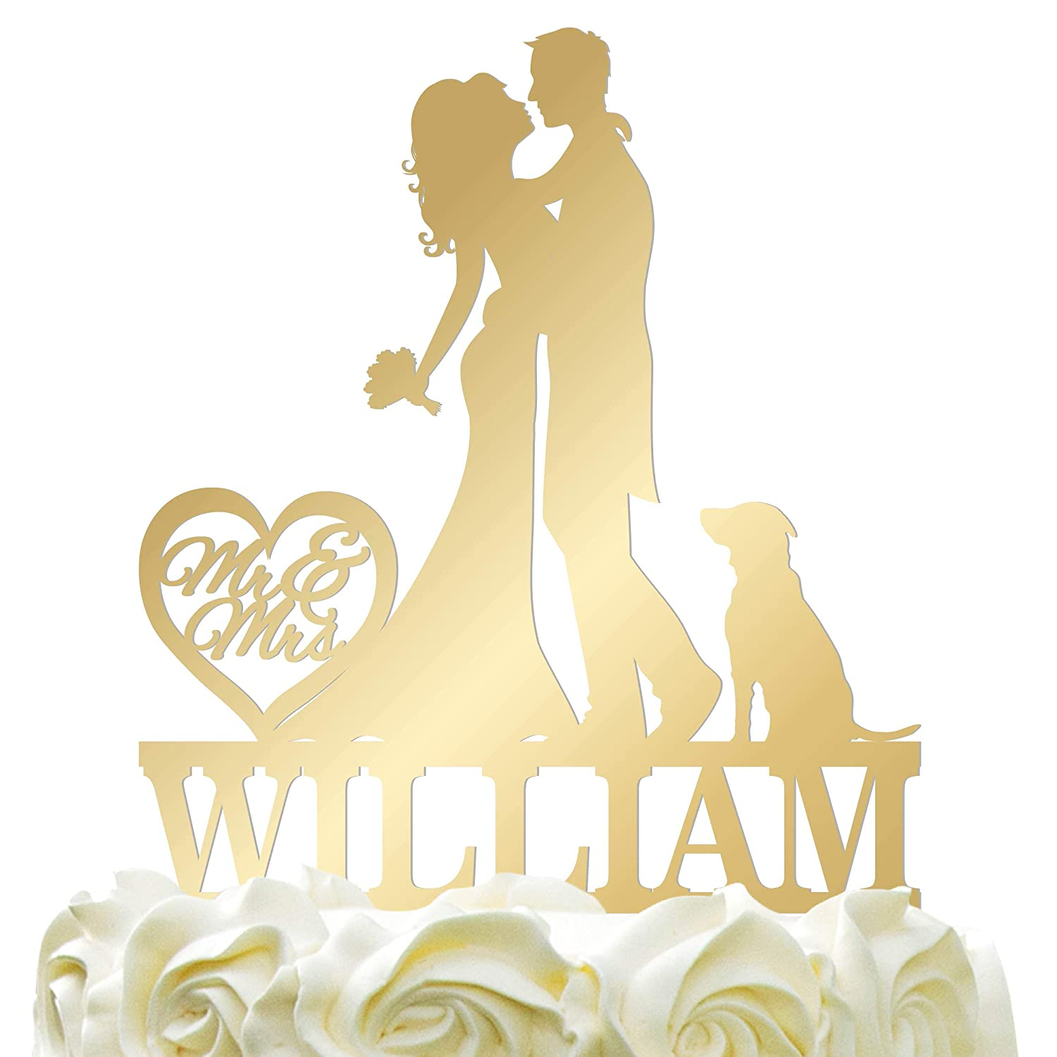 Personalized Bride & Groom Kissing, Hugging Silhouette Wedding Cake Topper - Wedding Cake Decoration Mr-Mrs Heart Last Name With DogMirrored Color