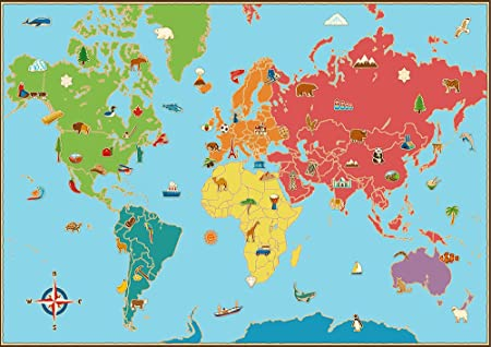 Learn as you go childrens world map poster wall art kids guessing learn as you go childrens world map poster wall art kids guessing game teaching baby shower gumiabroncs Image collections