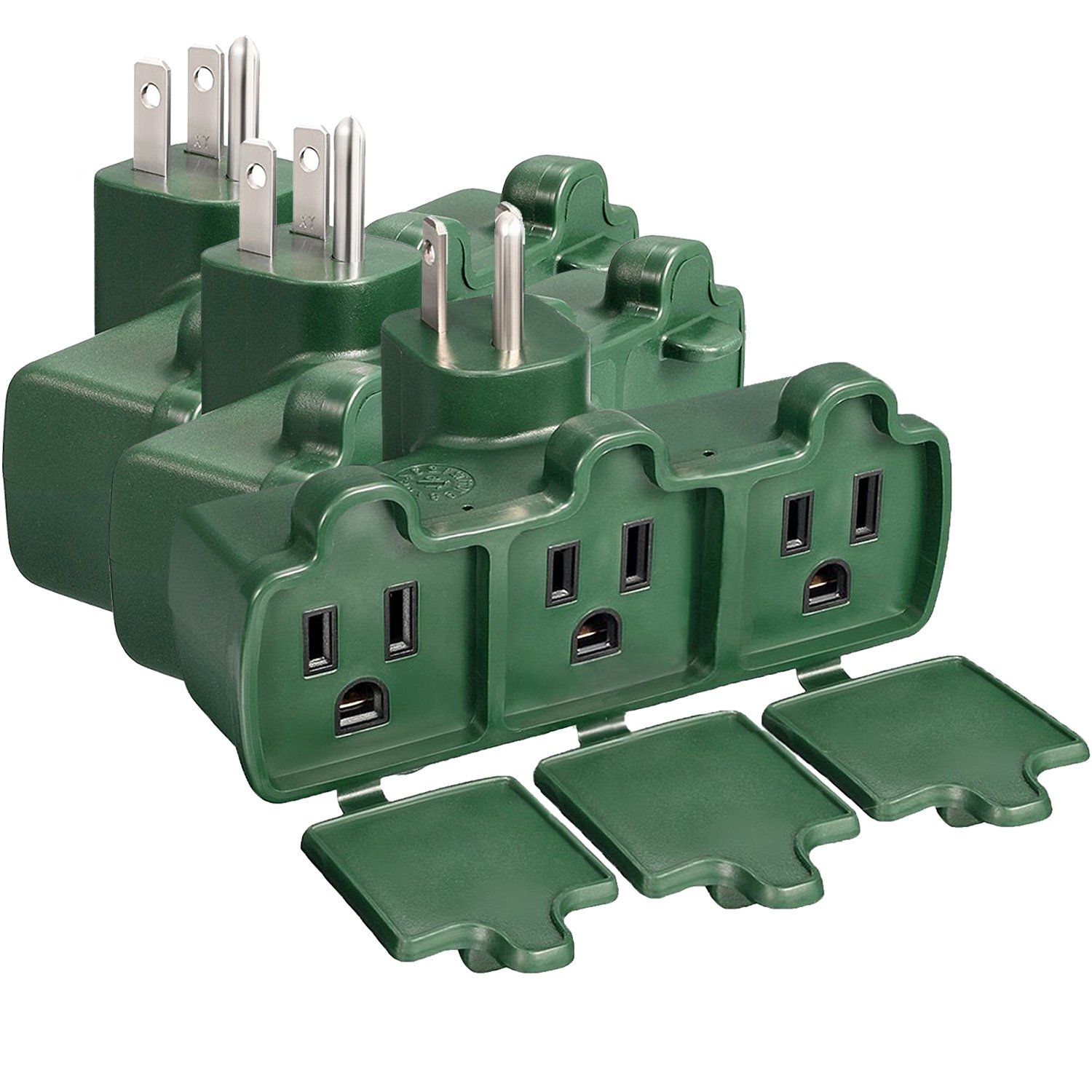 Fosmon 3 Outlet Wall Adapter 3 Pack, 3-Prong 125V AC Plug, ETL Listed, Outdoor, Weatherproof, Grounded, Heavy Duty Wall Tap (Green) Fosmon Technology