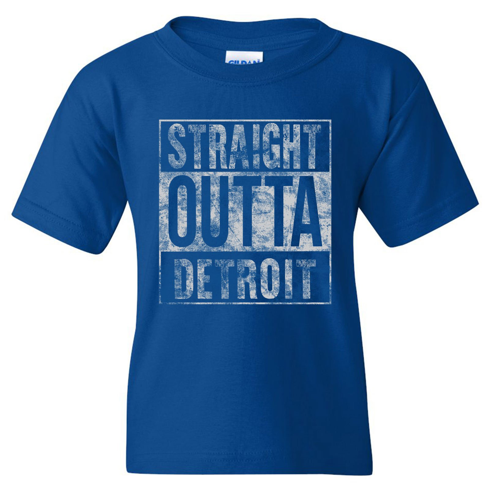 UGP Campus Apparel Straight Outta Detroit Basic Cotton Youth T-Shirt - X-Large - Royal
