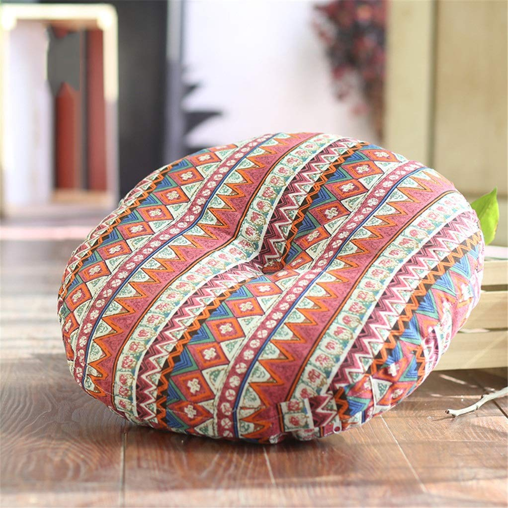 Yilian Zuodian Literary Linen Round futon Sofa Cushion Tatami Bay Window Beautiful Hip Cushion Meditation Meditation Diameter Washable Multicolor (Color : I, Size : 70×70cm)