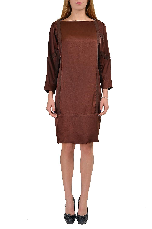 Martin Margiela 6 100% Silk Brown 3/4 Sleeves Women's Shift Dress US M IT 42