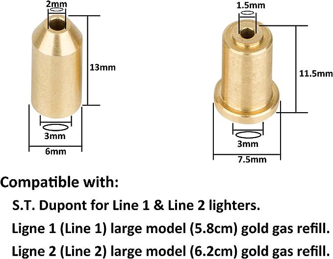 PowerPreise24 Kit dadaptateurs de Remplissage de gaz pour S.T Dupont Ligne 2 /& Gatsby Briquet Ligne 1