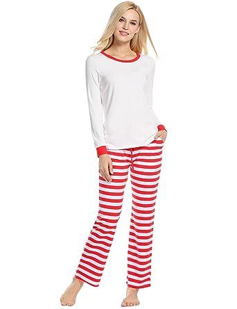zouvo leisure pj womens lounge set white flannel cotton christmas winter pajama set white - Christmas Pajamas Women