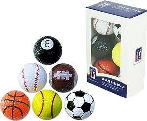 PGA Tour Einzigartige Fun Sport Golfbälle (6er Originales y Divertidas Bolas de Golf y Otros Deportes (Set de 6), Unisex, Multicolor: Amazon.es: Deportes y aire libre