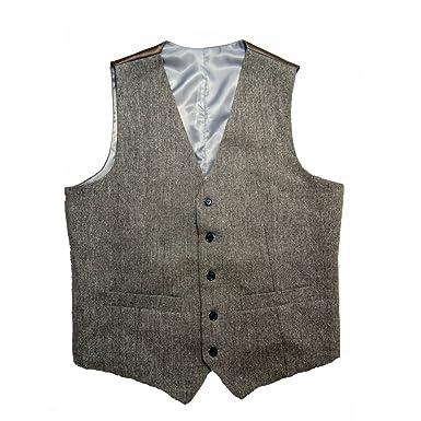 Tailorsun Mens Slim Fit Vintage Tweed Wedding Vest Brown Black Tan ...