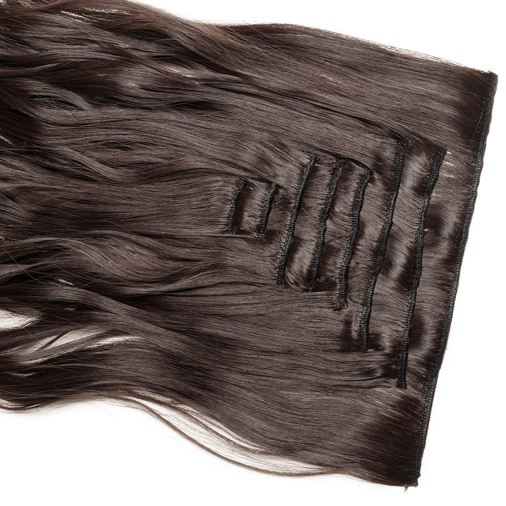 Clip in Hair Extensions Synthetic Full Head Charming Hairpieces Thick Long Straight 8pcs 18clips for Women Girls Lady (24 inches-wavy, dark brown) by Beauti-gant (Image #6)