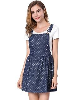 622520e294b Allegra K Women s Dot Pattern Adjustable Straps Mini Pinafore Jean Denim  Overall Dress