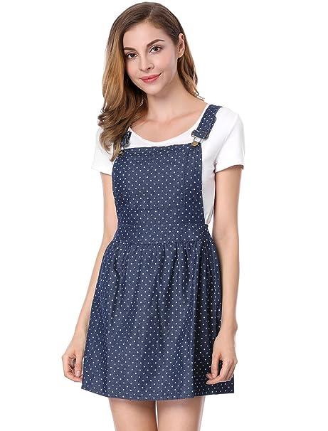 Womens Dots Pattern Adjustable Shoulder Straps Mini Overall Dress