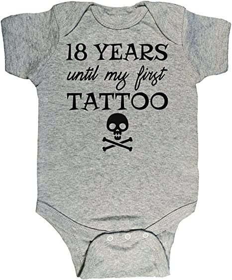 18 Years Until My First Tattoo Funny Cute Hilarious Baby Infant Romper