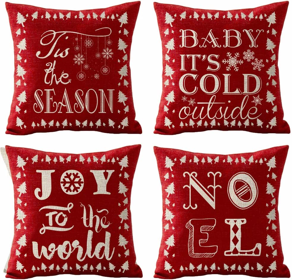 Set of 4 Merry Christmas Tis The Season Baby It's Cold Outside Joy To The World Noel Snowflake Tree Pillows Cotton Linen Decorative Home Office Throw Pillow Case Couch Cushion Cover 18X18 inches