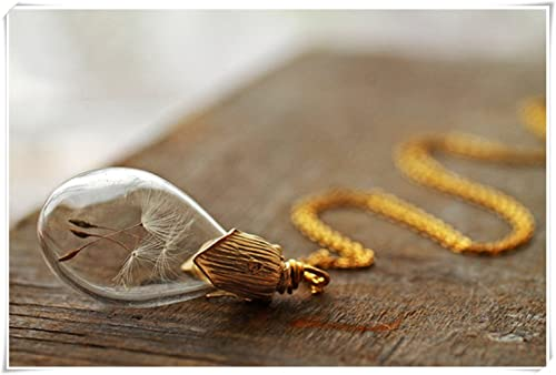 Gold dandelion necklace , make a wish , real plant necklace , Irish  jewellery , gift for bride , good luck charm