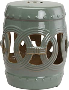 """Outsunny 14"""" Multi-Use Ceramic Garden Stool / Round Side Table / Foot Rest with Knotted Ring Design Green"""