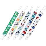 GAGAKU 5er Pack Schnullerband Stoff Schnullerkette mit Clip - Mehrfarbig