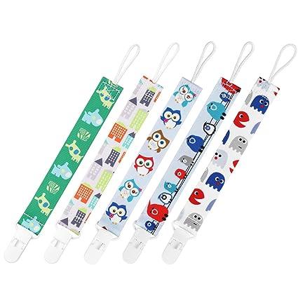 GAGAKU 5 Pack Chupete Cadenas Mordedor con Soporte Universal de Chupete Clip Soporte Para Niñas y Niños