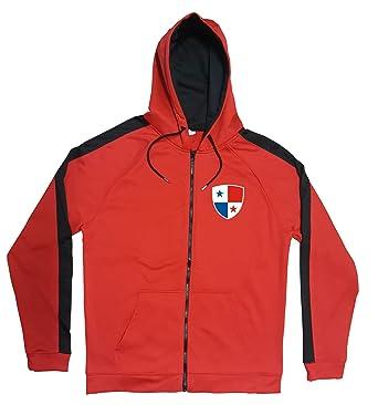 f037cd5c9338f0 Panama Jacke Sweater Rot JA GO Panama Trikot Look Zip Nation Fussball Sport  (2XL)