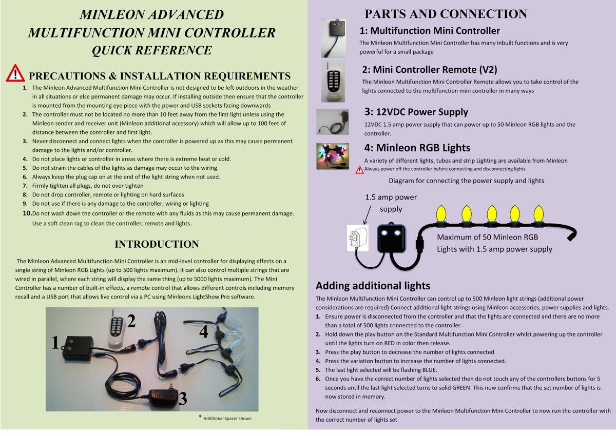 LED RGB G40 12'' Spacing Light Strings, 25 Lights, 25' Run, With Power Supply & Remote Controller by Minleon (Image #3)