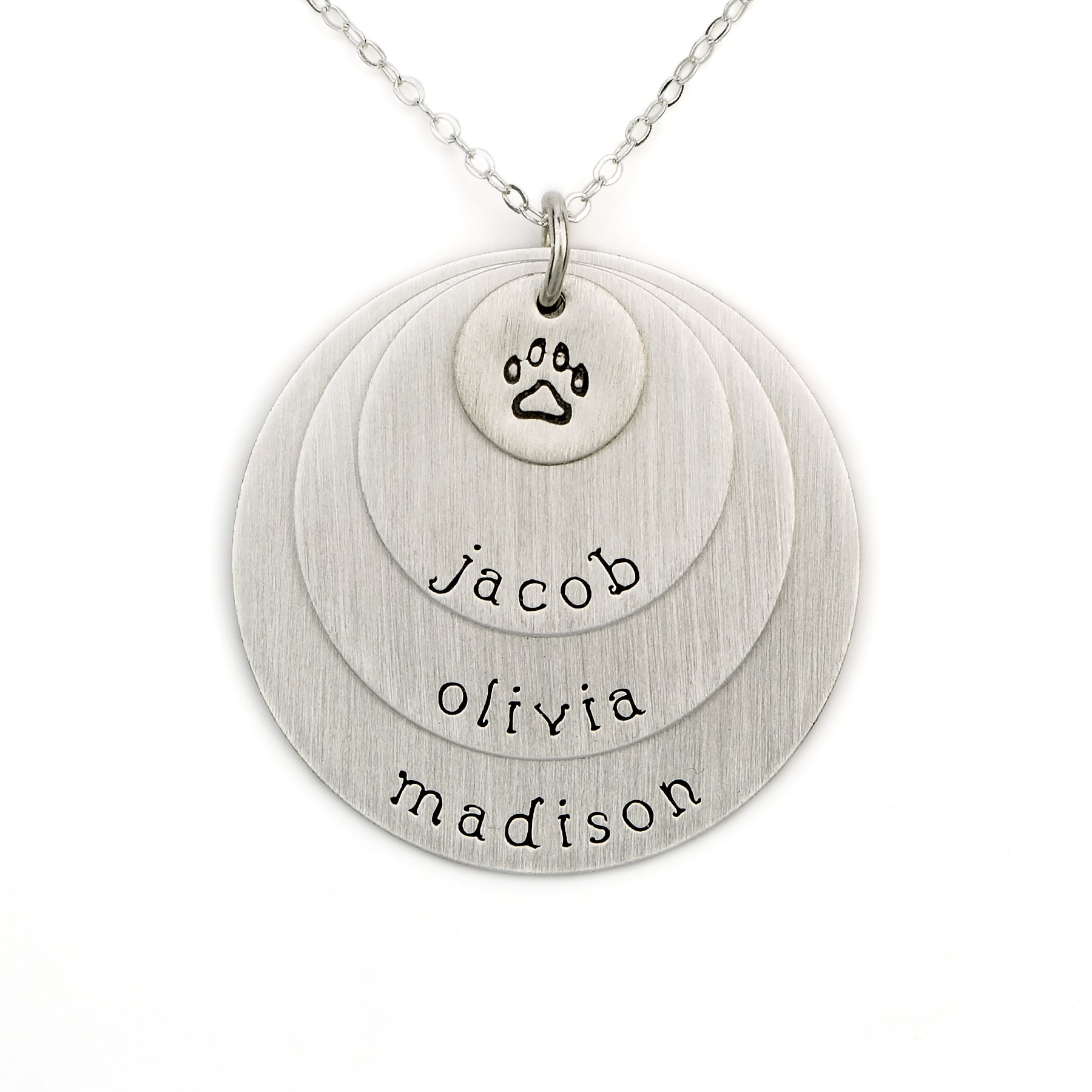 AJ's Collection Pawprint Personalized Sterling Silver Name Necklace. Customize with Your Choice of Pet Names. Matted Finish. Includes Sterling Silver Chain. Gifts for That Petlover in Your Life
