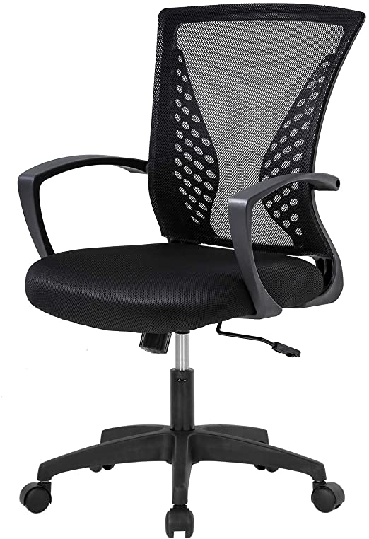 Amazon Com Home Office Chair Mid Back Pc Swivel Lumbar Support Adjustable Desk Task Computer Ergonomic Comfortable Mesh Chair With Armrest Black Furniture Decor
