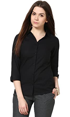 861f08fcd751 The Gud Look Women s Black Slim Shirt  Amazon.in  Clothing   Accessories