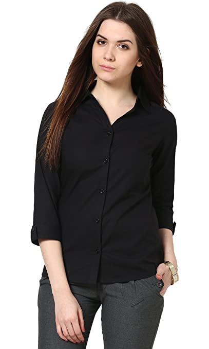 The Gud Look Women's Black Slim Shirt Women's Blouses & Shirts at amazon