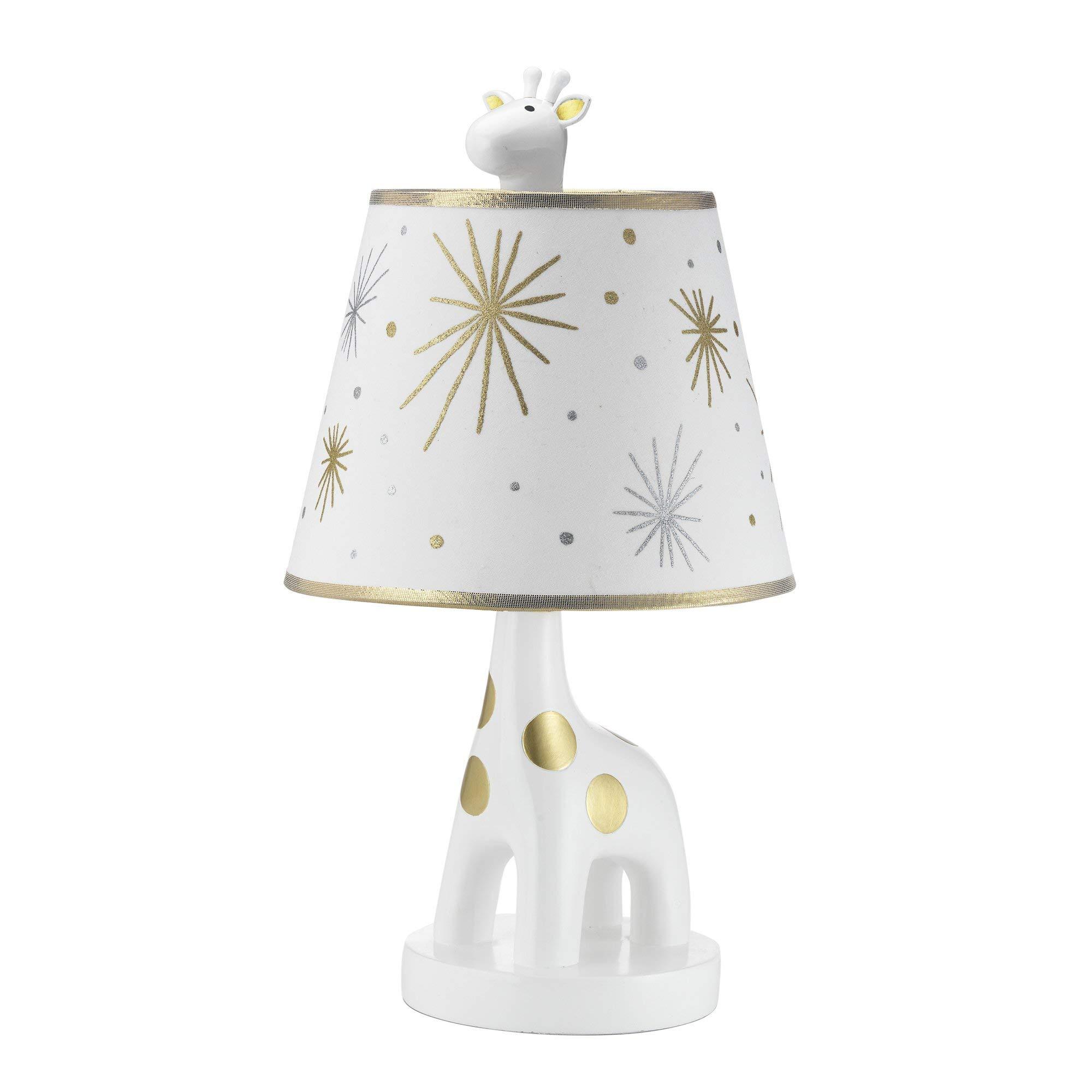 Lambs & Ivy Signature Moonbeams Lamp with Shade & Bulb - Gold, White, Animals