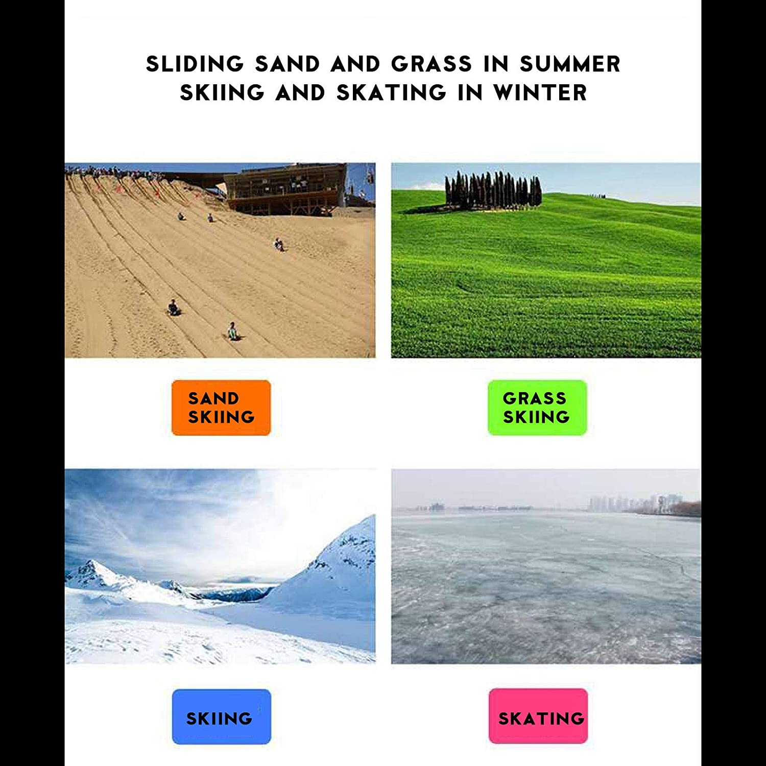 Snow Sled Board Plastic Heavy Duty Snow Grass Sand Board Ski Pad Snowboard Luge for Kids and Adults Freeze-Proof /& Wear-Resistant Winter Outdoor Skiing Boards Downhill Sled