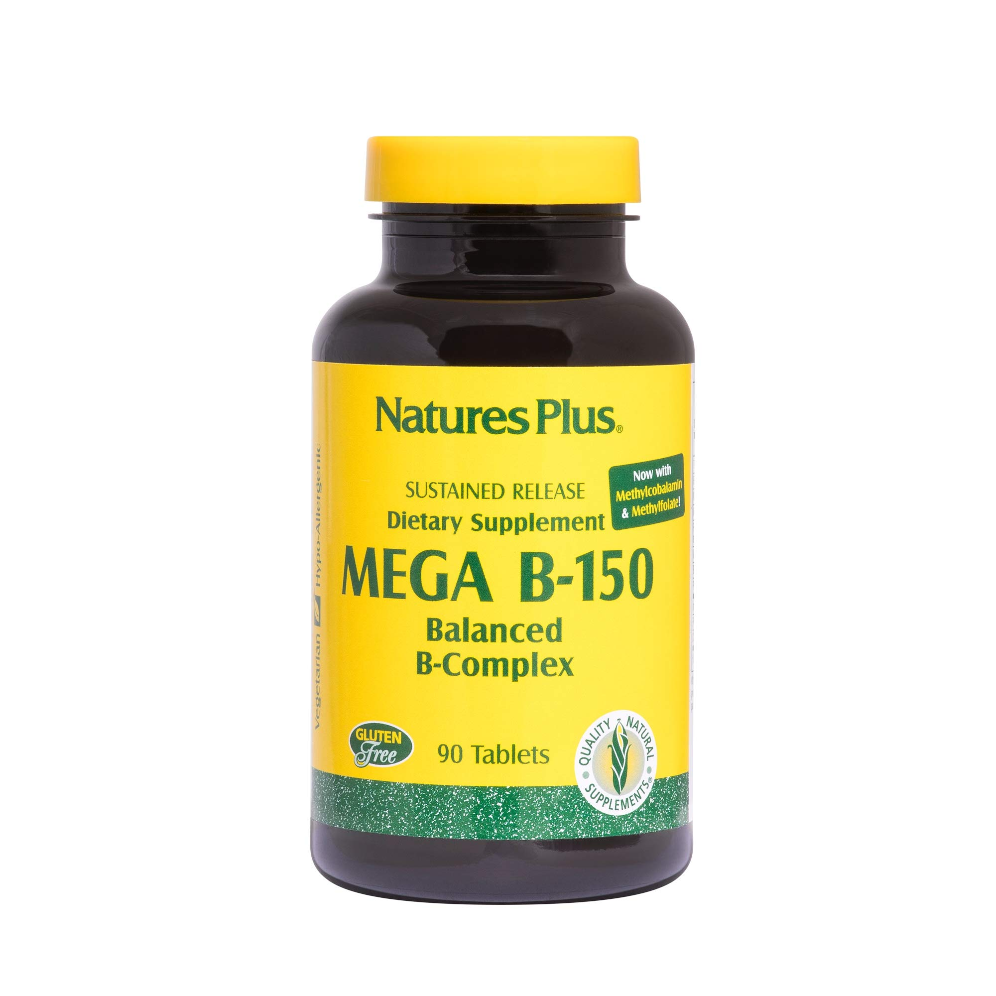 NaturesPlus Mega B150 Complex, Sustained Release - 90 Vegetarian Tablets - Maximum Potency B Complex Vitamin Supplement, Energy & Brain Booster, Stress Reliever - Gluten-Free - 90 Servings