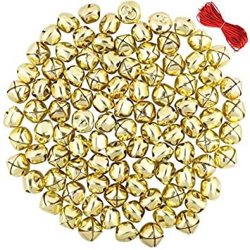 CEWOR 168Pcs 1Inch Gold and Sliver Jingle Bells Christmas Craft Bells for Festival Decoration with 30m Red Cord