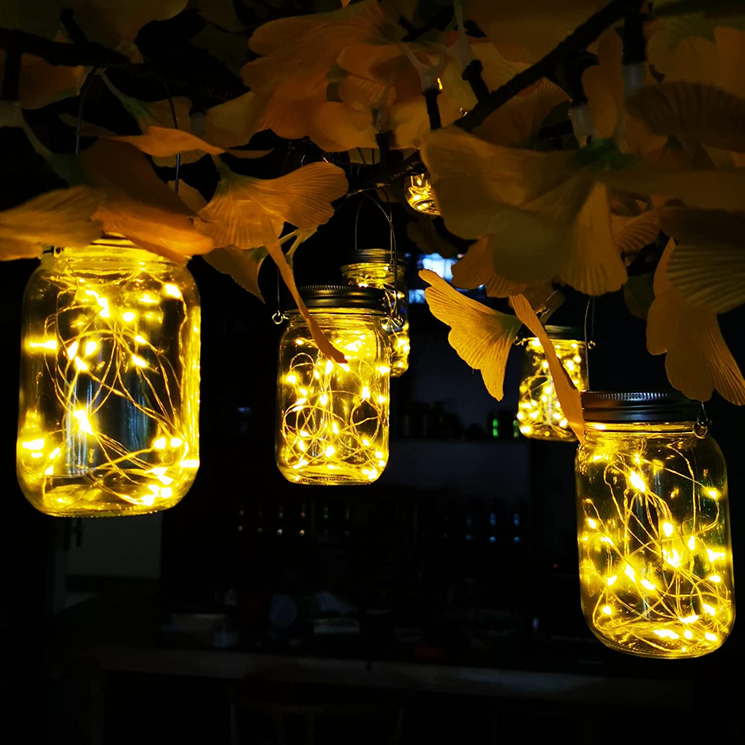 Aipatal Solar Mason Jar Lights 25 LED 6 Pack Hanging Solar Lights Outdoor Waterproof Fairy Jar Solar Lanterns for Patio Garden Hangers and Jars Included- Warm White