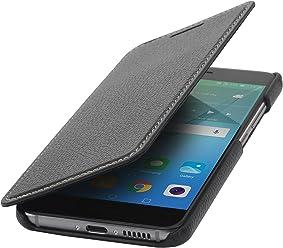 StilGut Book Type sans Clip, Housse en Cuir pour Huawei Nova. Etui de Protection de Cuir véritable à Ouverture latérale, Noir