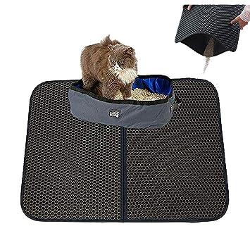 Alfombrilla de arena para gato Petneces, trampa de arena para gatos, doble capa impermeable