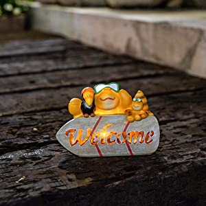 Jy.Cozy Garden Solar Welcome Statues Crab Decorations Lights Outdoor Animal Resin Figurine for Patio Lawn Yard 5.2 Inch Tall