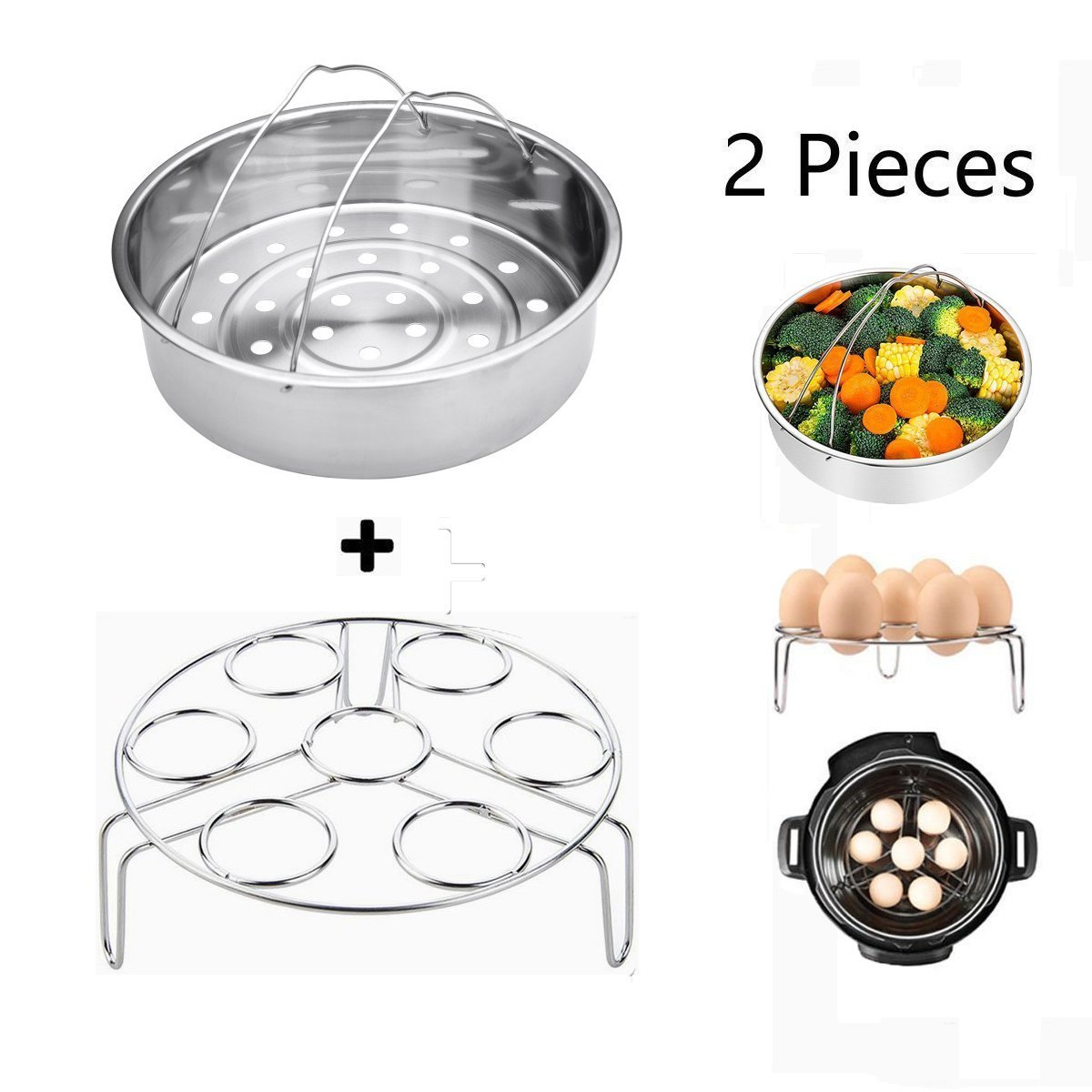 Lakatay Steamer Basket With Egg Steamer Rack for Instant Pot Accessories and 5/6/8 qt Pressure Cooker Stainless Steel Vegetable Steam Rack Stand Pack of 2