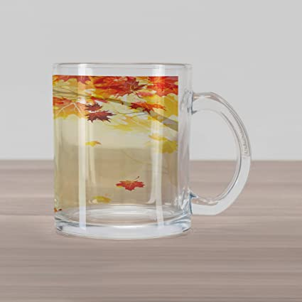 293ee3a34d Ambesonne Fall Glass Mug, Soft Image of Faded Shedding Fall Leaves from  Tree Motion in