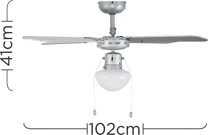 MiniSun - Ventilador de Techo con Luz LED/Tamaño Medio 102cm ...