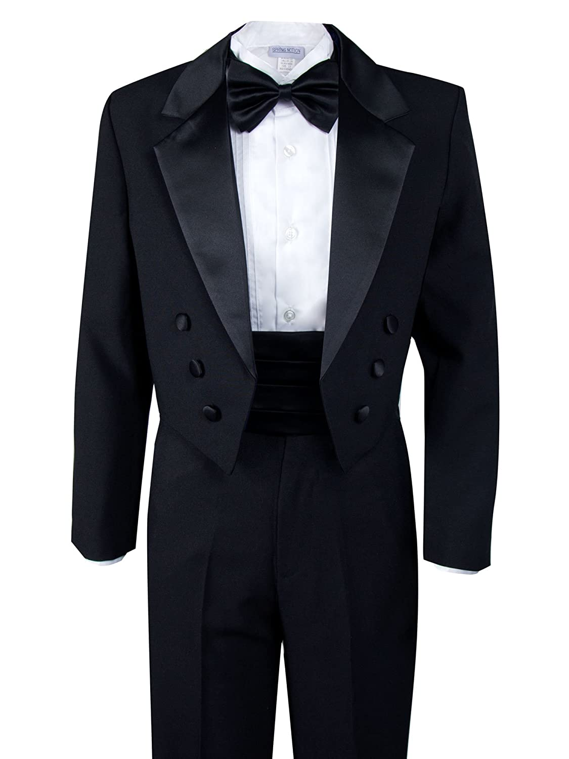 63f24008fe8 Tuxedo  Black single breasted jacket with smooth satin notched lapel   center vent tail  fully lined. Pants  Satin stripes line the sides of the  pants  ...
