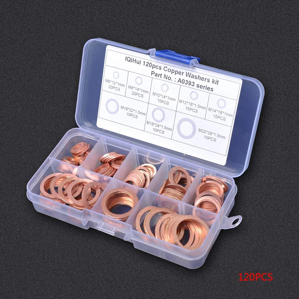 Ben-gi 120pcs 8 Tailles Rondelles en cuivre Massif Puisard Ensemble Plugs Anneau Plat Joint Kit Joint pour Accessoires de mat/ériel pour Bateaux Crush Washer