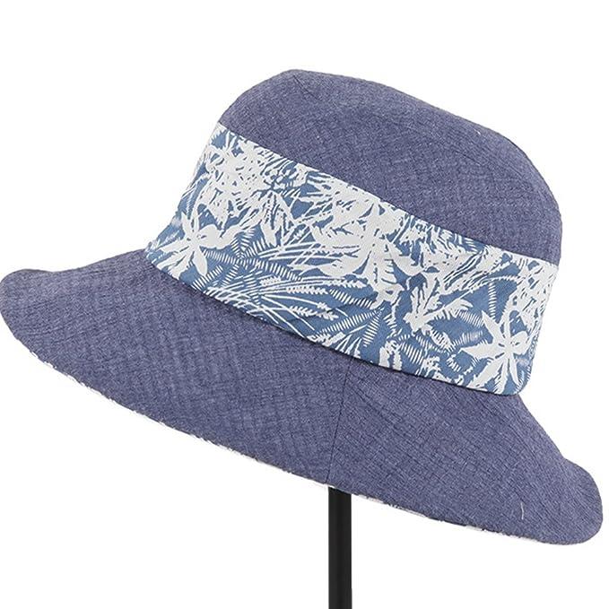 AHAHA Berretto da Spiaggia Pieghevole Cappello Estivo da Donna con Cappello  da Sole in Cotone 8af1203d4d40