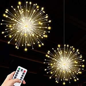 2pack Hanging String Lights, 200 LED Hanging Lights, 8 Mode Dimmable Firework Lights with Remote, Waterproof Hanging Twinkle Lights for Ceiling, Party Decor, Outdoor Dinner