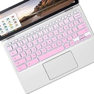 "MUBUY Keyboard Cover Skin Fit HP Chromebook 11 G1 G2 / G3 / G4 / G5 / G6 EE 11.6 Inch | 2019 2018 HP Chromebook 14 G2 G3 G4 Touch 14-ca 14-ak HP Chromebook x360 11.6""-Gradual Pink"