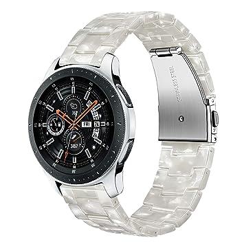 TRUMiRR pour Samsung Gear S3 Bracelet, 22mm Bracelet de Montre en résine en Acier Inoxydable Bracelet ...