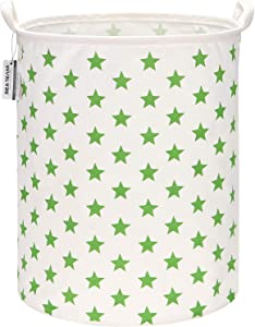 "Sea Team 19.7 Inches Large Sized Waterproof Coating Ramie Cotton Fabric Folding Laundry Hamper Bucket Cylindric Burlap Canvas Storage Basket with Stylish Stars Design (19.7"", Green Star)"