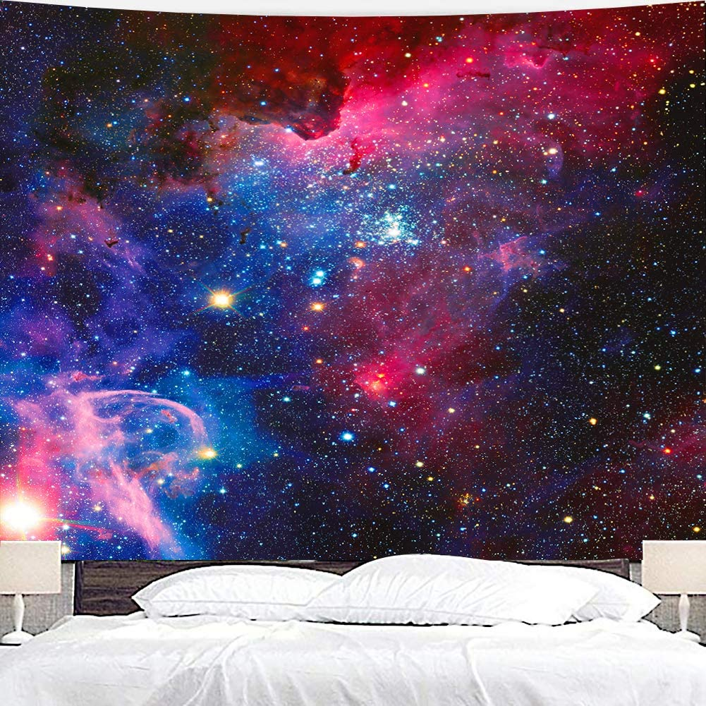 Wowzone Outer Space Tapestry Starry Sky Galaxy Universe Celestial Stars 51x59 Inch Purple Night Ocean Magical Nebula Wall Hanging Art Decor Bathroom Fabric Home Dorm Living Room