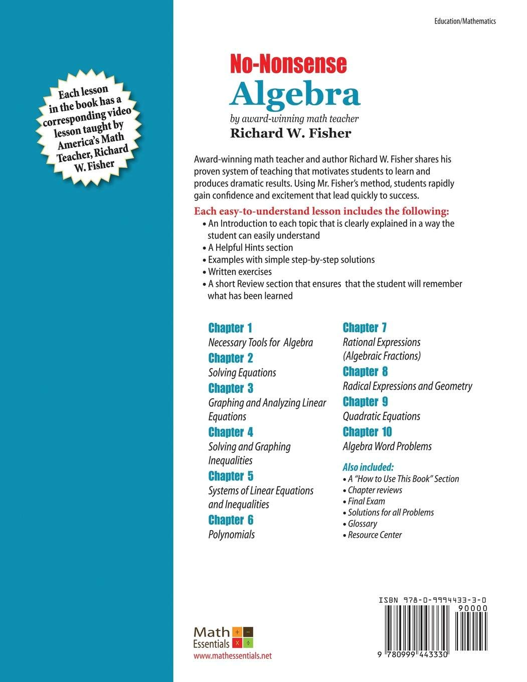 No-Nonsense Algebra, 2nd Edition: Part of the Mastering Essential ...