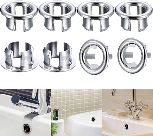Color : E ZNXT 1 Pc Sink Round Ring Overflow Spare Cover Tidy Chrome Trim Bathroom Ceramic Basin Overflow Ring сифон G529