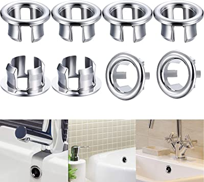 Pack Of 8 Overflow Cover Sinks Overflow Ring Kitchen Bathroom Sink Rim Bath Sinking Hole Round Overflow Cover Insert In Hole Replacement Parts Amazon De Diy Tools